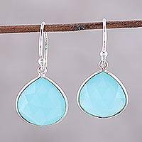 Chalcedony dangle earrings, 'Dancing Soul' - 18-Carat Blue Chalcedony Dangle Earrings from India