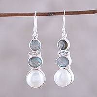 Labradorite and cultured pearl dangle earrings, 'Dance in the Clouds' - Labradorite and Cultured Pearl Dangle Earrings from India