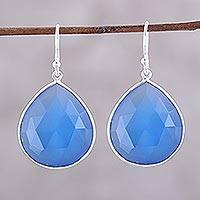 Chalcedony dangle earrings, 'Deep Blue Tears' - 25-Carat Deep Blue Chalcedony Dangle Earrings from India