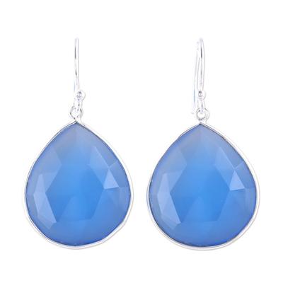 Chalcedony dangle earrings, 'Deep Blue Tears' - 25-Carat Deep Blue Chalcedony Dangle Earrings from India