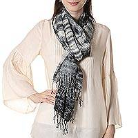 Tie-dyed cotton shawl, 'Elegant Shibori' - 100% Cotton Shibori Shawl in Black and Ivory from India