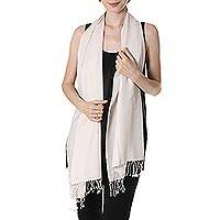 Silk and wool blend scarf, 'Swan Feather' - White Silk and Wool Blend Fringed Scarf from India