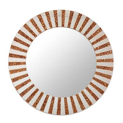 Glass mosaic wall mirror, 'Glamorous Speckle' - Glass Mosaic Wall Mirror in Brown and Clear from India