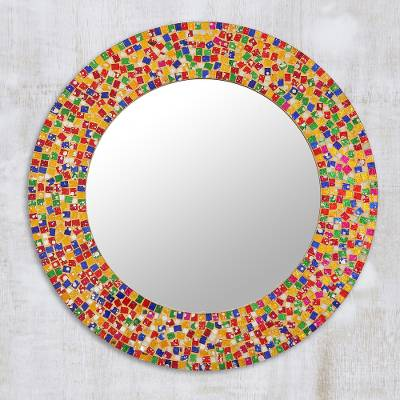 Round Colorful Glass Mosaic Wall Mirror From India Colorful Dazzle