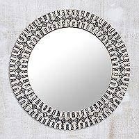 Glass mosaic wall mirror, 'Creative Shimmer' - Glass Mosaic Wall Mirror in Grey and Clear from India