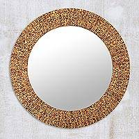 Glass mosaic wall mirror, 'Golden Aura' - Artisan Crafted Round Wall Mirror with Mosaic Glass Tiles