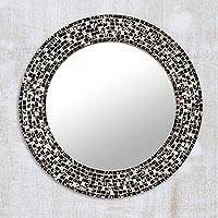 Glass mosaic wall mirror, 'Midnight Reflection' - Round Black Glass Mosaic Wall Mirror from India