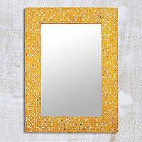 Glass mosaic wall mirror, 'Yellow Glitter' - Rectangular Yellow Glass Mosaic Wall Mirror from India