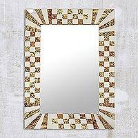 Glass mosaic wall mirror, 'Elegant Flair' - Rectangular Brown and Clear Glass Mosaic Wall Mirror