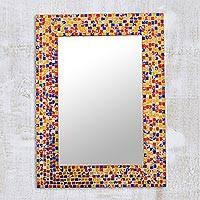 Glass mosaic wall mirror, 'Colorful Glittering Beauty' - Rectangular Colorful Glass Mosaic Wall Mirror from India