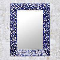 Glass mosaic wall mirror, 'Shimmering Blue' - Rectangular Blue Glass Mosaic Wall Mirror from India