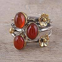 Onyx cocktail ring, 'Daylight Gala' - Floral Red-Orange Onyx Cocktail Ring from India