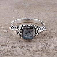 Labradorite cocktail ring, 'Misty Depths' - Square Labradorite Cocktail Ring Crafted in India