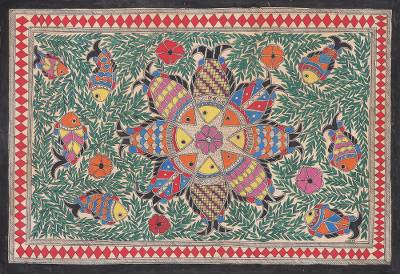Fish-Themed Madhubani Folk Art Painting from India