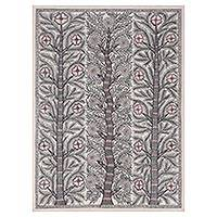 Madhubani painting, 'Spring Bliss' - Signed Madhubani Painting of Three Trees from India