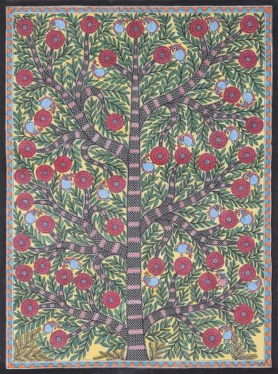 Madhubani Painting of a Floral Tree with Birds from India