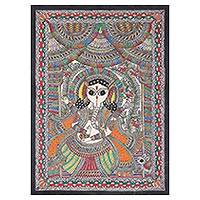 Madhubani painting, 'Magnificent Ganesha' - Colorful Madhubani Painting of Ganesha from India.