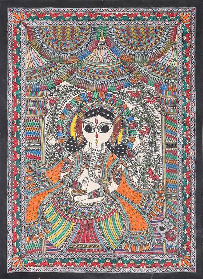 Colorful Madhubani Painting of Ganesha from India.