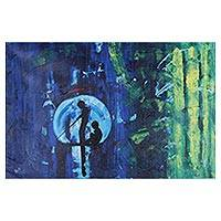 'Fishing Fantasy' - Signed Expressionist Painting in Blue and Green from India