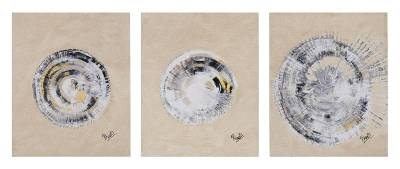 Triptych, 'Circle of Light' - Signed Abstract Triptych in Beige from India