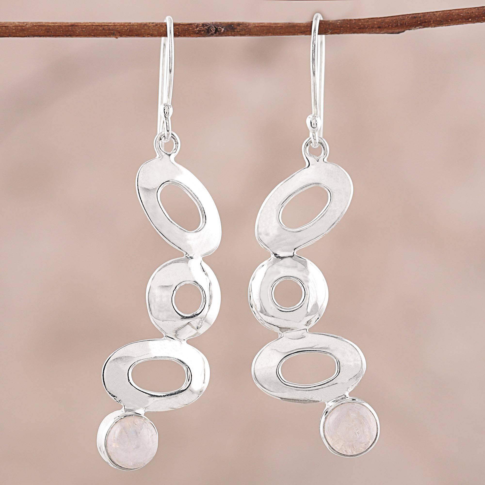 925 Sterling Silver And Rainbow Moonstone Dangle Earrings Stylish Movement