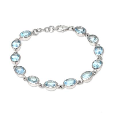 Blue topaz link bracelet, 'Sea Luster' - 18-Carat Blue Topaz Link Bracelet Crafted in India
