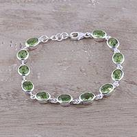 Peridot link bracelet, 'Verdant Luster' - 18-Carat Peridot Link Bracelet Crafted in India