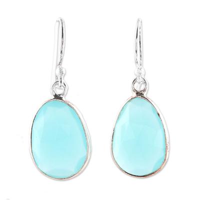 Chalcedony dangle earrings, 'Radiant Sea' - 12-Carat Blue Chalcedony Dangle Earrings from India