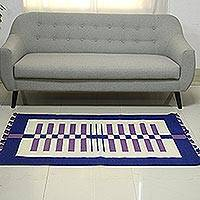 Wool area rug, 'Playful Lines' (3x5) - Blue and Lavender Stripes on Ivory Wool Area Rug (3x5)