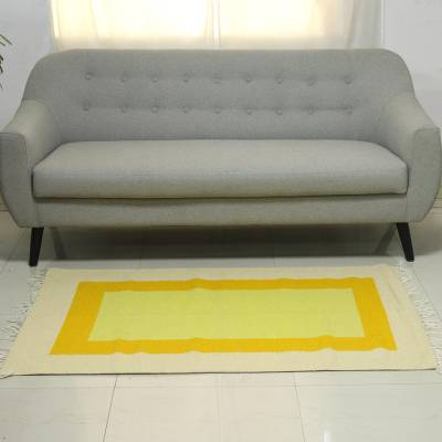 Wool area rug, 'Sunny Pane' (3x5) - Yellow and Orange Nested Rectangles Wool Area Rug (3x5)
