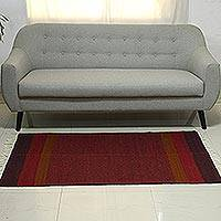 Wool area rug, 'Deep Radiance' (3x5) - Claret Red and Maroon Striped Wool Fringed Area Rug (3x5)