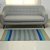 Wool area rug, 'Shadow Stripes' (3x5) - Teal Taupe and Blue Striped Wool Fringed Area Rug (3x5)