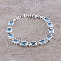 Blue topaz link bracelet, 'Watery Rectangles' - Rectangular Blue Topaz Link Bracelet from India