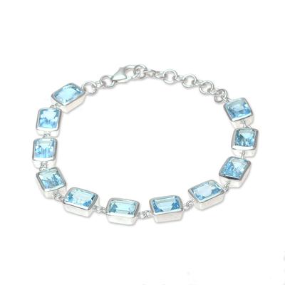 Blue topaz link bracelet, 'Watery Rectangles' - Rectangular Blue Topaz Link Bracelet from India