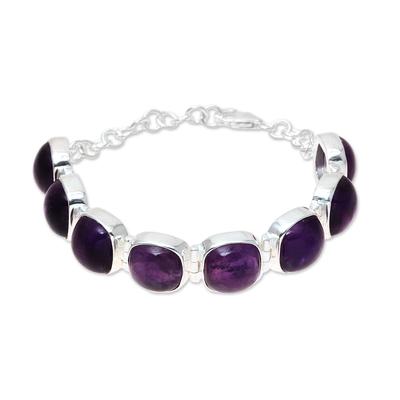 Amethyst link bracelet, 'Elegant Allure' - Elegant Amethyst Link Bracelet Crafted in India