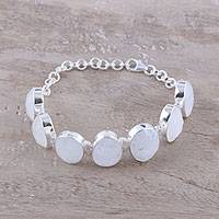 Rainbow moonstone link bracelet, 'Misty Haven' - 60-Carat Rainbow Moonstone Link Bracelet from India
