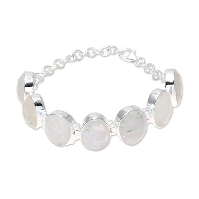 Rainbow moonstone link bracelet, 'Misty Haven' - 60-Carat Rainbow Moonstone Link Bracelet from India