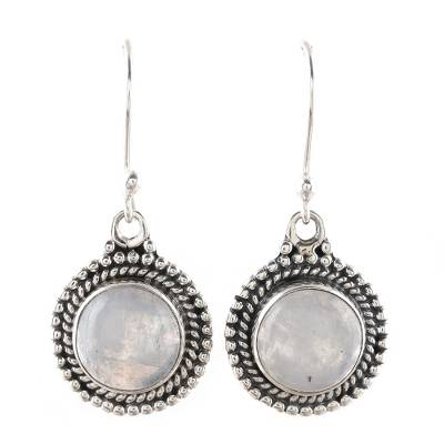 Round Rainbow Moonstone Dangle Earrings from India