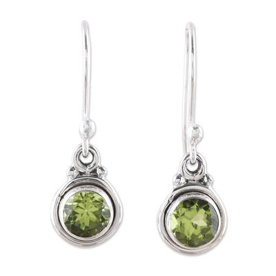 4.5-Carat Peridot Dangle Earrings from India