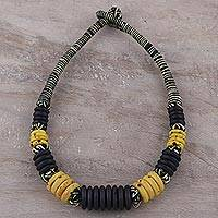 Bone beaded necklace, 'Boho Midnight' - Black and Yellow Beaded Bone Necklace from India