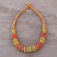 Bone beaded necklace, 'Boho Sunset' - Yellow and Orange Beaded Bone Necklace from India