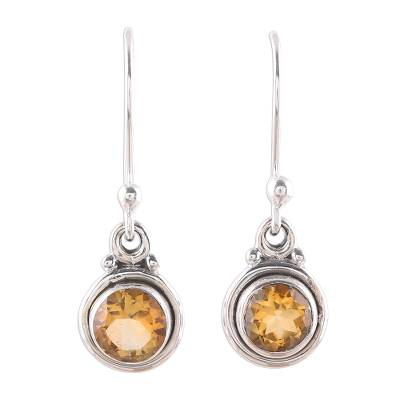 Faceted Citrine Dangle Earrings from India