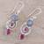 Labradorite and agate dangle earrings, 'Elegant Labyrinth' - Labradorite and Agate Dangle Earrings from India (image 2b) thumbail