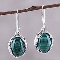 Malachite dangle earrings, 'Elegant Flair' - Oval Malachite Dangle Earrings from India
