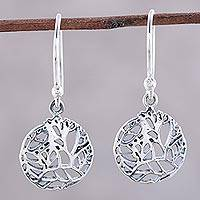 Sterling silver dangle earrings, 'Vine Windows'
