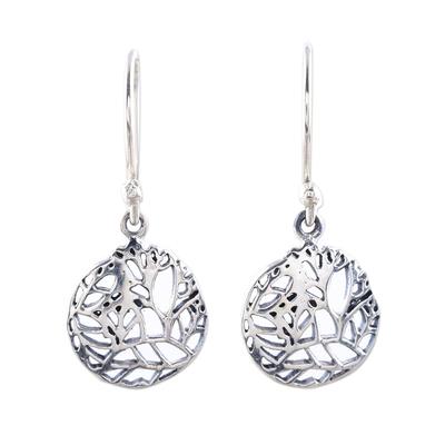 Sterling silver dangle earrings, 'Vine Windows' - Openwork Vine Sterling Silver Dangle Earrings from India