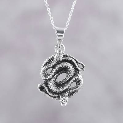 Sterling Silver Pendant Necklace of Two Snakes from India, 'Snake Lovers'