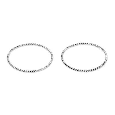 Sterling silver bangle bracelets, 'Rope Flair' (pair) - Rope Pattern Sterling Silver Bangle Bracelets (Pair)