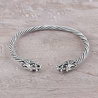 Sterling silver bangle bracelet, 'Dragon Delight' - Dragon-Themed Sterling Silver Cuff Bracelet from India