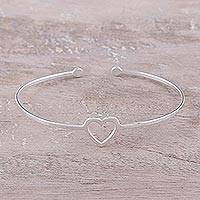 Sterling silver cuff bracelet, 'Love Gleams' - Sterling Silver Heart Cuff Bracelet from India
